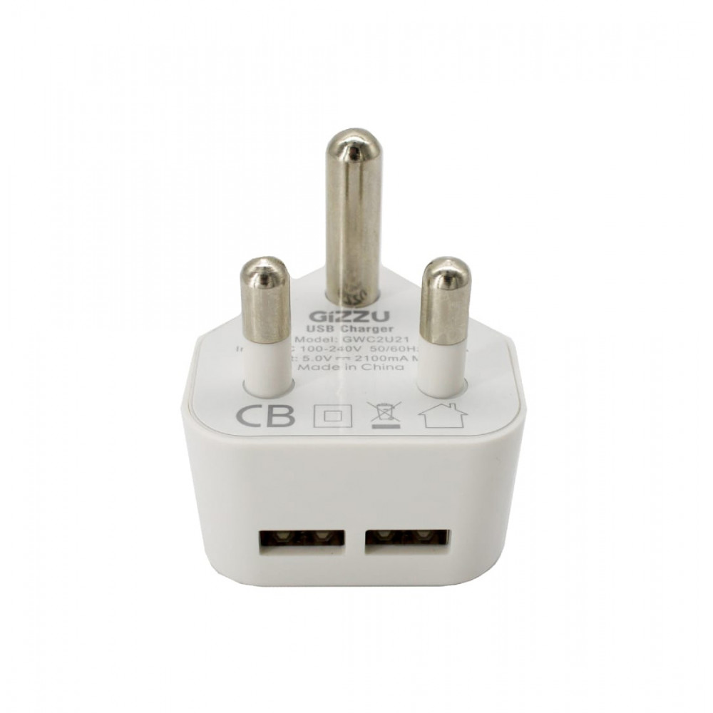 GIZZU 2 Port USB 3-PRONG Wall Charger