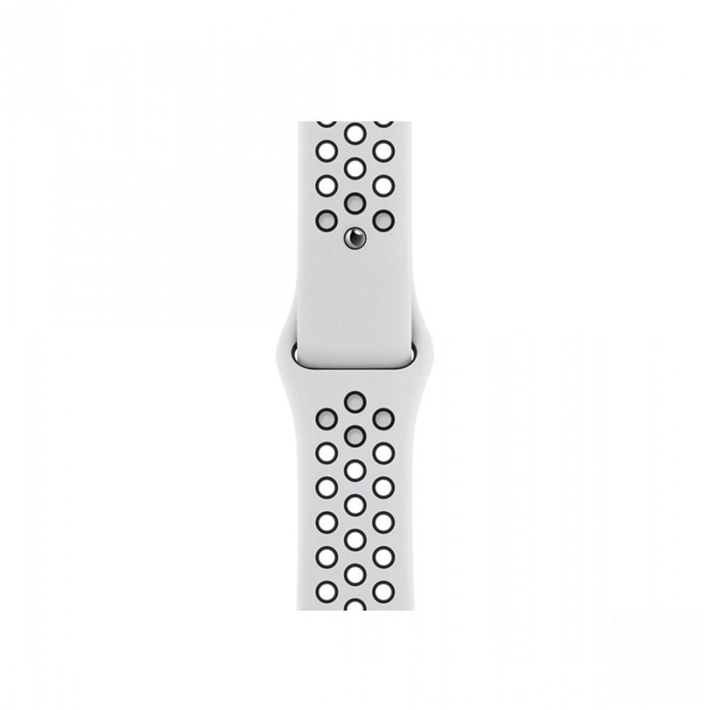 Apple 44mm Pure Platinum/Black Nike Sport Band