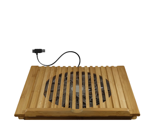 macally bamboo laptop stand with cooling fan via usb image