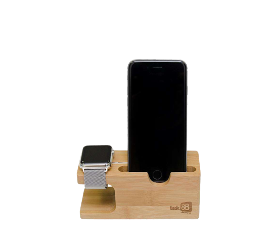 tek88 apple watch and iphone bamboo display stand image