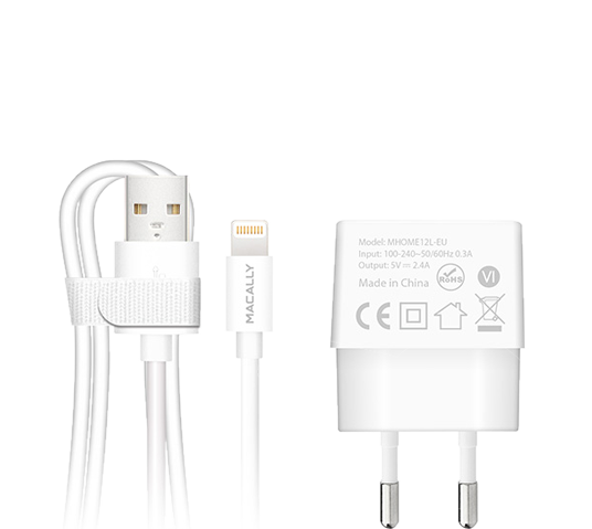 macally 12w wall charger w/ detachable lightning cable image 1