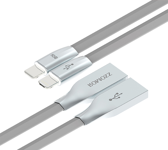 romoss rolink hybrid micro usb and lightning cable  image