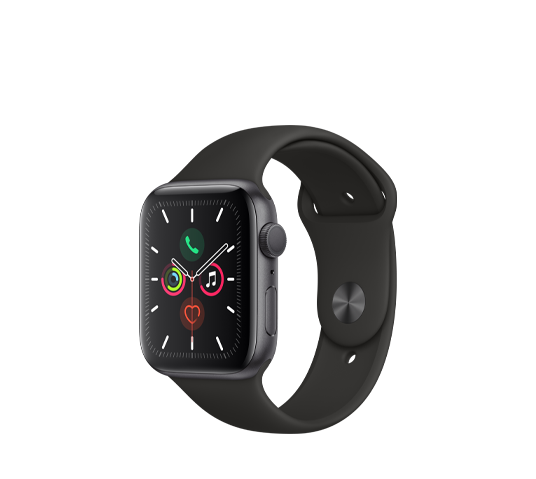 series 5 - 44mm space gray aluminum case with black sport band image