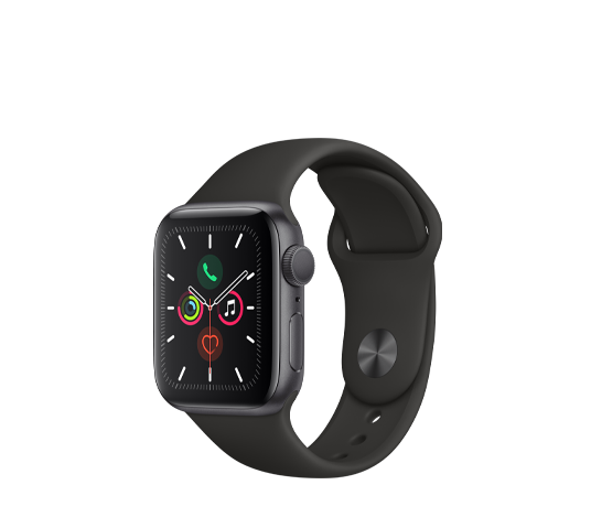 series 5 - 40mm space gray aluminum case with black sport band image