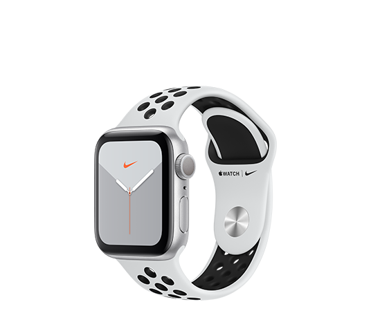 series 5 nike+ gps - 40mm silver aluminium case with platinum black sport band image