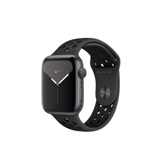 series 5 nike+ gps - 44mm space grey aluminium case with platinum black sport band image