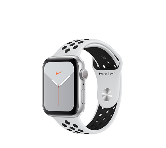 series 5 nike+ gps - 44mm silver aluminium case with platinum black sport band image