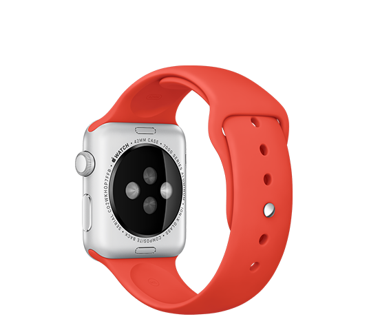 series 1 - 42mm silver aluminium with orange sport band image 2