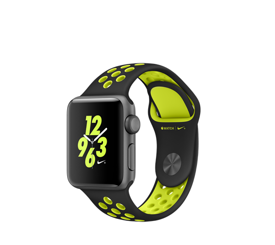 nike 38mm space grey alu case - black/volt nike sport band image