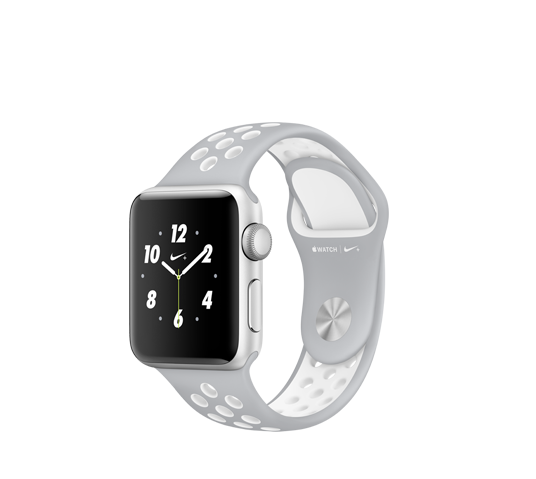 nike 38mm silver alu case - silver and white sport band image