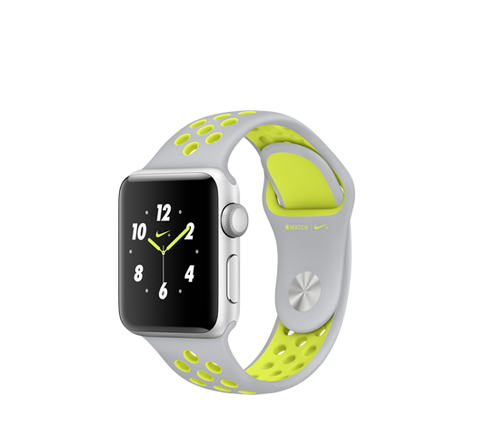 nike 38mm silver alu case - silver/volt nike sport band image
