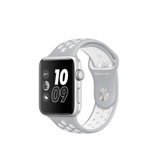 nike 42mm silver alu case - silver and white sport band image