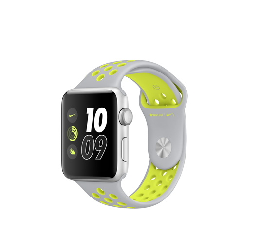 nike 42mm silver alu case - flat silver/volt nike sport band image