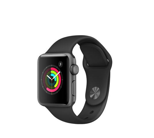 series 2 - 38mm space grey aluminium case with space black sport band image