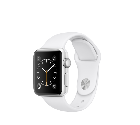 series 2 - 42mm silver alu case with white sport band image