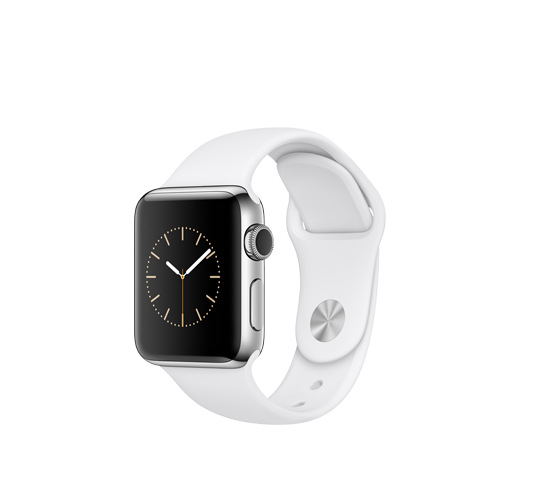 series 2 - 42mm stainless steel case with white sport band image